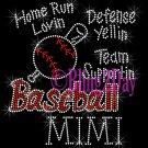 Baseball MIMI - Home Run, Support Team - Iron on Rhinestone Transfer Sport Mom - DIY