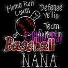 Baseball NANA - Home Run, Support Team - Iron on Rhinestone Transfer Sport Mom - DIY