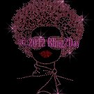 Afro Lady Girl - Hot Pink - Woman Rhinestone Iron on Transfer Hot Fix - DIY