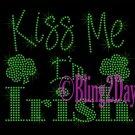 Kiss Me I'm Irish - GREEN - Rhinestone Iron on Transfer Hot Fix Bling St. Patricks's Day - DIY