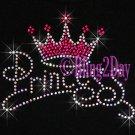 Princess - HOT PINK Crown - Rhinestone Iron on Transfer Hot Fix Bling Diva Kids - DIY