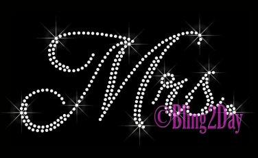 Mrs - CLEAR - Rhinestone Iron on Transfer Hot Fix Bling Bridal Bride Series - DIY