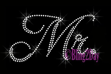 Mr - CLEAR - Rhinestone Iron on Transfer Hot Fix Bling Bridal Bride Series - DIY
