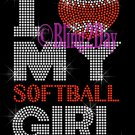 I Love My Softball Girl - Heart - Rhinestone Iron on Transfer Hot Fix Bling - DIY