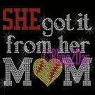 SHE got it from her MoM - SOFTBALL Heart - Iron on Rhinestone Transfer - Sports Mom - DIY