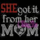 SHE got it from her MoM - SOCCER Heart - Iron on Rhinestone Transfer - Sports Mom - DIY
