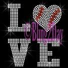 LOVE - BASEBALL Heart - 2 Line Version - Iron on Rhinestone Transfer Bling - DIY