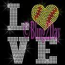 LOVE - SOFTBALL Heart - 2 Line Version - Iron on Rhinestone Transfer Bling - DIY
