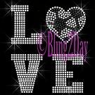 LOVE - SOCCER Heart - 2 Line Version - Iron on Rhinestone Transfer Bling - DIY