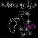 What's Kickin' Baby BOY - FEET - Iron on Rhinestone Transfer Maternity - DIY