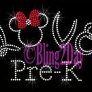 LOVE - Pre-K - Minnie Red Bow - Iron on Rhinestone Transfer - Bling - DIY