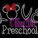 LOVE - Preschool - Minnie Red Bow - Iron on Rhinestone Transfer - Bling - DIY