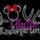 LOVE - Kindergarten - Minnie Red Bow - Iron on Rhinestone Transfer - Bling - DIY