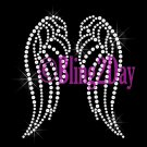 (S) Clear - Angel Wings - Iron on Rhinestone Transfer - Hot Fix Bling - DIY