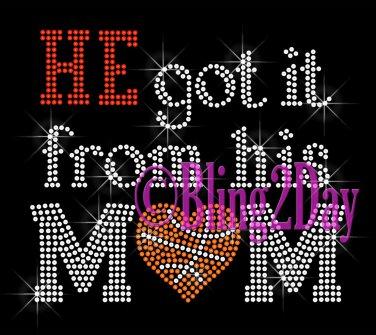 HE got it from his MoM - BASKETBALL Heart - Iron on Rhinestone Transfer - Sports Mom - DIY