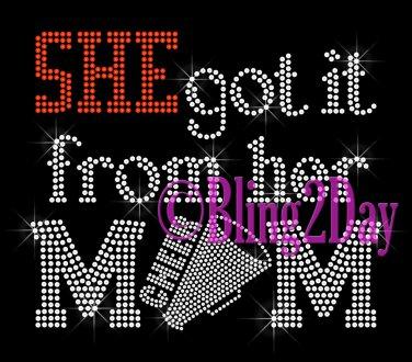 SHE got it from her MoM - CHEER Heart - Iron on Rhinestone Transfer - Sports Mom - DIY
