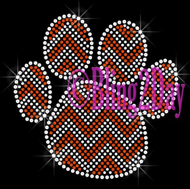 Huge Chevron ORANGE Paw- Rhinestone Iron on Transfer Hot Fix Bling - DIY