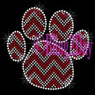 Huge Chevron RED Paw- Rhinestone Iron on Transfer Hot Fix Bling - DIY