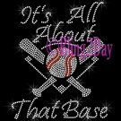 BASEBALL - It's All About That Base - Rhinestone Iron on Transfer Hot Fix Bling Sports - DIY