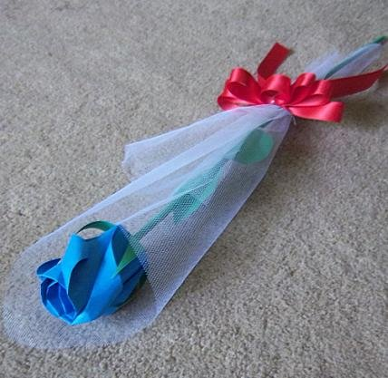Origami Paper Rose Bud Blue Craft Gift