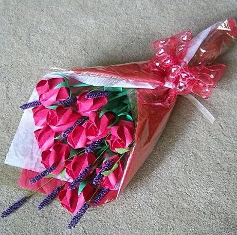 Origami Paper Roses Bouquet  Red Gift Crafts