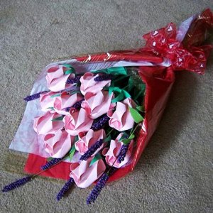 Origami Paper Roses Bouquet  Pink Gift Crafts