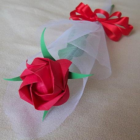 Origami Paper Rose Handmade Flower With Tulle Wrapper