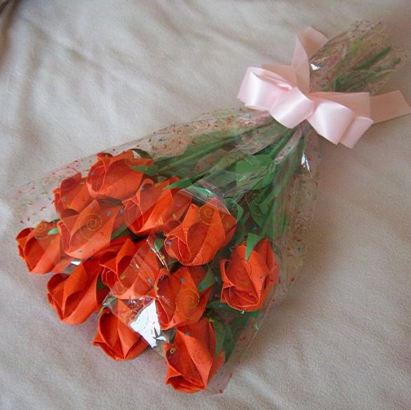 Origami Paper Rose Bud Bouquet  Orange Gift Crafts