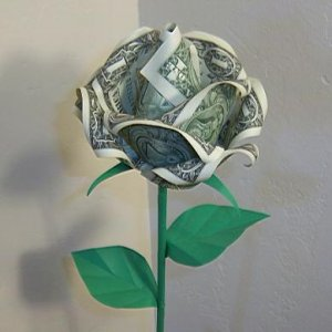 Origami Rose Money Craft Gift