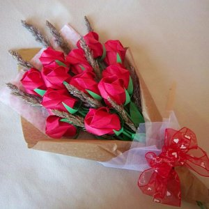 Origami Roses Bouquet with Dried Flower Red Paper Gift Crafts