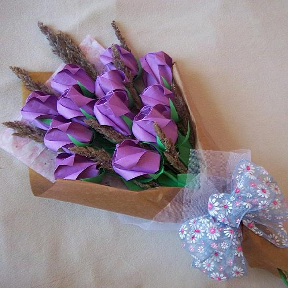 origami roses bouquet with dried flower purple paper gift