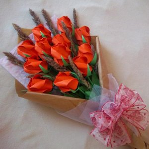 Origami Rose Bouquet with Dried Flower Orange Paper Gift Crafts