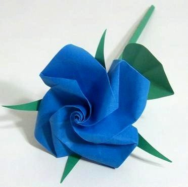 Handmade Origami Rose Blue Paper Fold Craft Gift