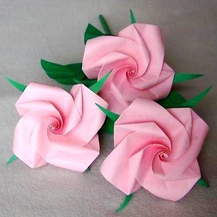 3 Origami Rose Long Stem Pink Paper Fold Craft Handmade Gift