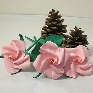 3 Pink Origami Rose Short Stems Paper Folded Craft  Handmade Gift