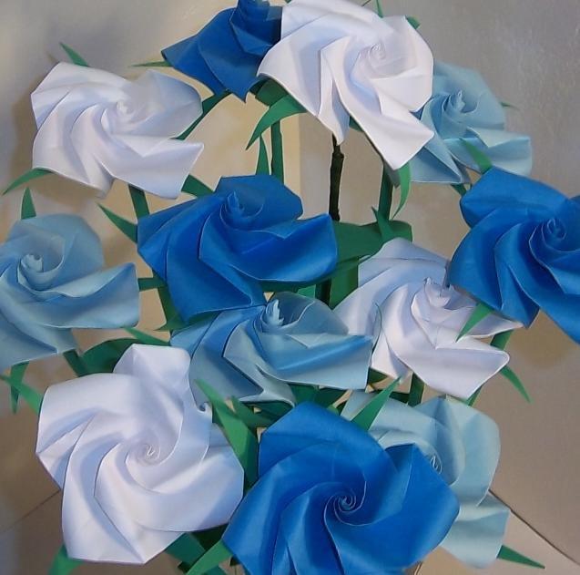 12 Long Stem Handmade Origami Rose Paper Folded Flower Anniversary Birthday Mother's Day Gift