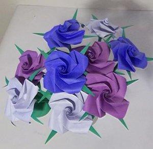 9 Handmade Origami Rose Paper Folded Flower Craft Gift Short Stems