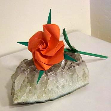 Handmade Origami Rose Orange Paper Fold Craft Gift
