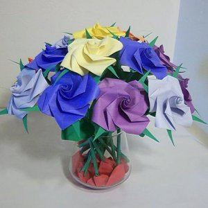 16 Origami Rose Paper Folded Flower Craft Handmade Anniversary Birthday Gift