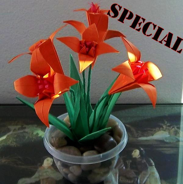 Origami Lily Paper Folded Flower Craft Handmade Gift Halloween color Home Decor