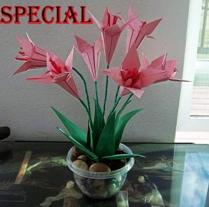 Origami Lily Paper Folded Flower Craft Handmade Gift for Special Day or Decor Pink