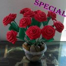 Paper Folded Rose Flower Craft Handmade Gift for Special Day or Decor Red