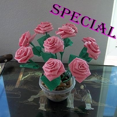 Handmade Rose Plant Paper Folded Flower Craft Gift for Special Day or Decor Pink