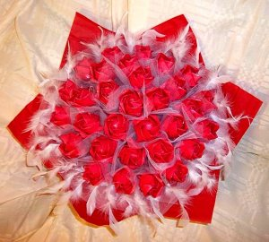 30 Origami Paper Rose Bouquet Handmade Anniversary Birthday Valentine Gift Pink