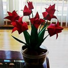 Origami Tulips Paper Folded Flower Craft Handmade Gift for Special Day or Decor Red
