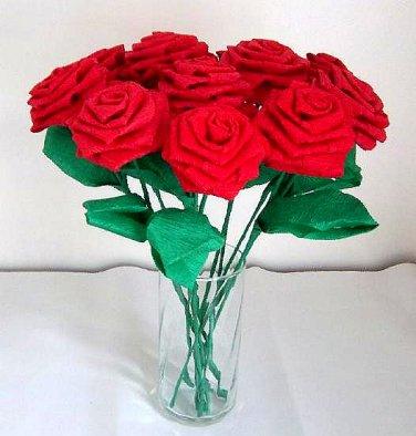 Handmade Origami Crinkle Paper Roses 12 Red