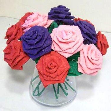 Handmade Origami Crinkle Paper Roses 12 Short Stems Pink + Red + Purple
