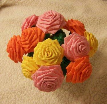 Handmade Origami Crinkle Paper Roses 12 Short StemsYellow+ Orange+ Pink