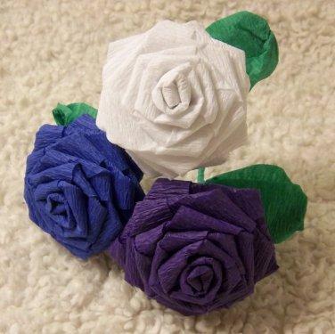 Handmade Origami Crinkle Paper Roses 3 Short Stems White+ Blue+ Purple