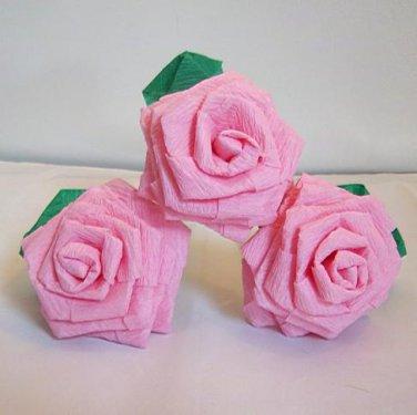 Handmade Origami Crinkle Paper Roses 3 Short Stems Pink